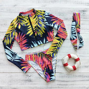 Leaves Long Sleeve Bikinis