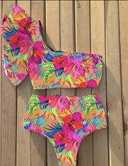 Floral One Shoulder Bikini