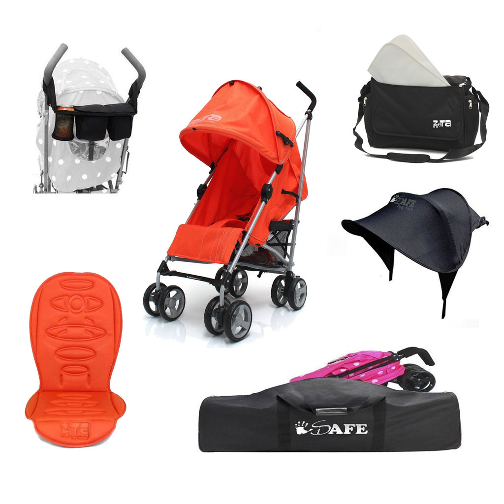 2018 Holiday Package, Orange Stroller + Travel Bag + Changing Bag + Console + Sunshade + Padded Seat Liner
