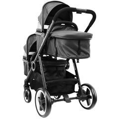 iSafe Tandem Pram me&you - 2 Tone Black (Black) With Car Seat And Rain Cover