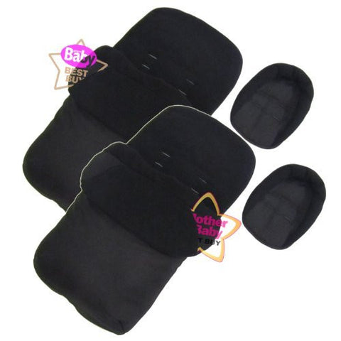 New X2 Luxury Footmuff Liner & Headhugger Black Fits Obaby Apollo Twin Stroller