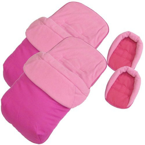 New X2 Luxury Footmuff Liner & Head Hugger - Pink Fits Obaby Apollo Twin Stroller - Baby Travel UK