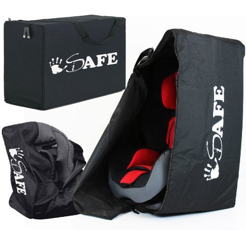 iSafe Universal Carseat Travel / Storage Bag For Kiddy Guardian Pro Car Seat (Racing Black) - Baby Travel UK  - 1