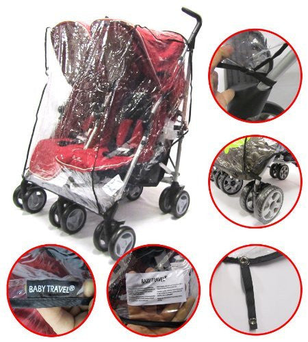 Rain Cover To Fit Silver Cross Pop Duo Rouge Pepper - Baby Travel UK  - 1