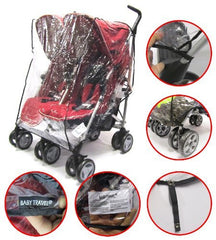 Twin  Rain Cover To Fit Side By Side Twin Stroller - Baby Travel UK  - 1