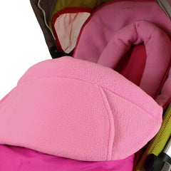 Luxury Footmuff & Head Huger For Stroller Pushchair - Pink (Raspberry) - Baby Travel UK  - 3