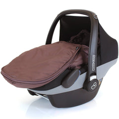 Newborn Baby Car Seat Footmuff Fits Maxi Cosi, Silver Cross Britax Hot Chocolate - Baby Travel UK  - 2