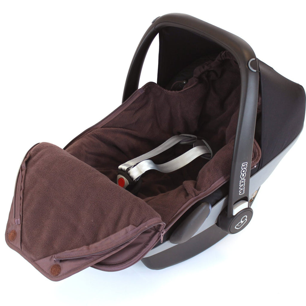 Baby Car Seat Footmuff Fits Maxi Cosi, Silver Cross Britax HOT CHOCOLATE - Baby Travel UK  - 1