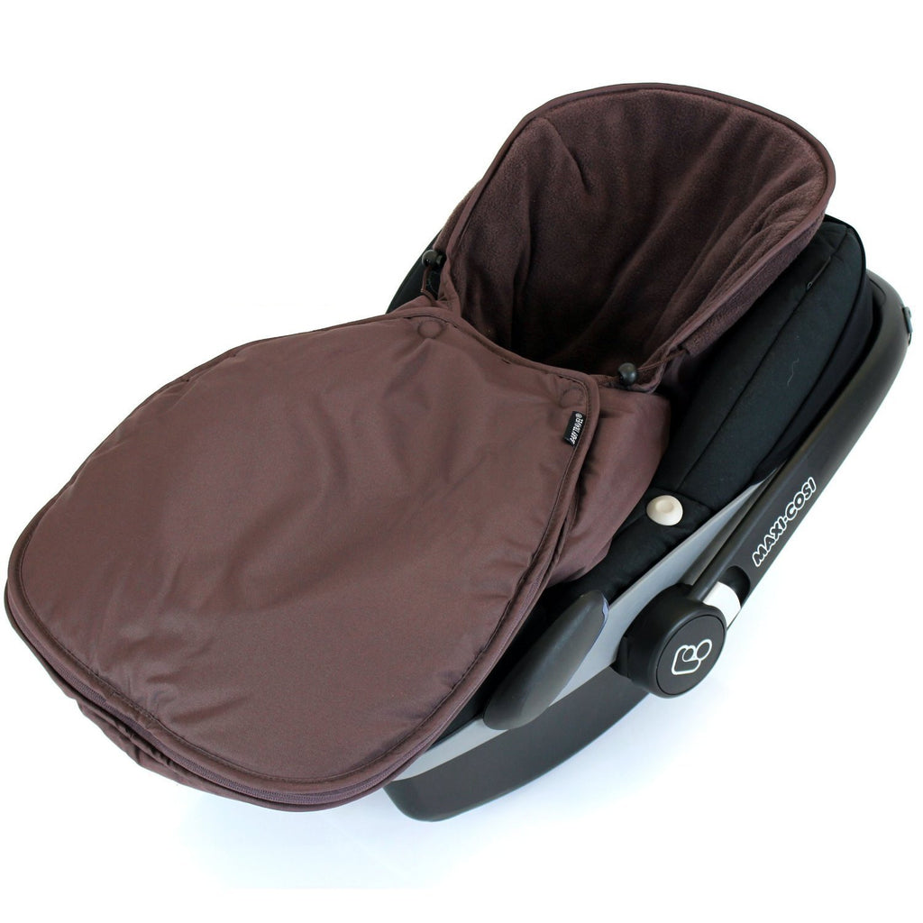 Newborn Baby Car Seat Footmuff Fits Maxi Cosi, Silver Cross Britax Hot Chocolate - Baby Travel UK  - 3
