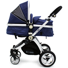 iSafe 3 in 1  Pram System - Navy (Dark Blue) + Carseat + Footmuff & Raincover Package - Baby Travel UK  - 5