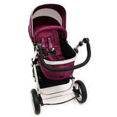 iSafe 3 in 1  Pram System - Plum (Purple) + Carseat + Footmuff & Raincover Package - Baby Travel UK  - 9