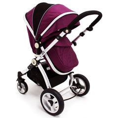 iSafe 3 in 1  Pram System - Plum (Purple) + Carseat + Footmuff & Raincover Package - Baby Travel UK  - 4