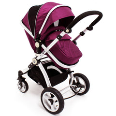 iSafe 3 in 1  Pram System - Plum (Purple) + Carseat + Footmuff & Raincover Package - Baby Travel UK  - 5
