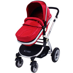 iSafe System - Red Travel Pram System Complete Package With Bedding + Raincover & Footmuff - Baby Travel UK  - 3