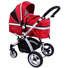 iSafe System - Red Travel Pram System Complete Package With Bedding + Raincover & Footmuff - Baby Travel UK  - 5
