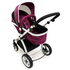 iSafe 3 in 1  Pram System - Plum (Purple) + Carseat + Footmuff & Raincover Package - Baby Travel UK  - 8