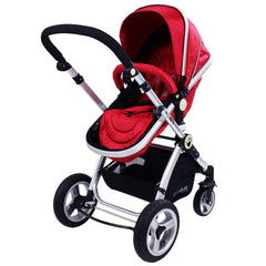 iSafe System - Red Travel Pram System Complete Package With Bedding + Raincover & Footmuff - Baby Travel UK  - 4