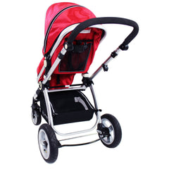 iSafe System - Red Travel Pram System Complete Package With Bedding + Raincover & Footmuff - Baby Travel UK  - 6