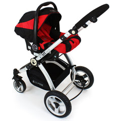 iSafe System - Red Travel Pram System Complete Package With Bedding + Raincover & Footmuff - Baby Travel UK  - 7