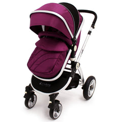 iSafe 3 in 1  Pram System - Plum (Purple) + Carseat + Footmuff & Raincover Package - Baby Travel UK  - 2