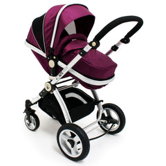 iSafe 3 in 1  Pram Travel  System - Plum (Purple) With Carseat & Raincovers - Baby Travel UK  - 6