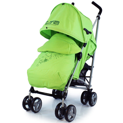 Baby Stroller Zeta Vooom Hearts And Stars Complete Lime Lemon