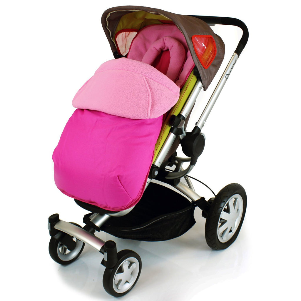 Luxury Footmuff & Head Huger For Stroller Pushchair - Pink (Raspberry) - Baby Travel UK  - 1
