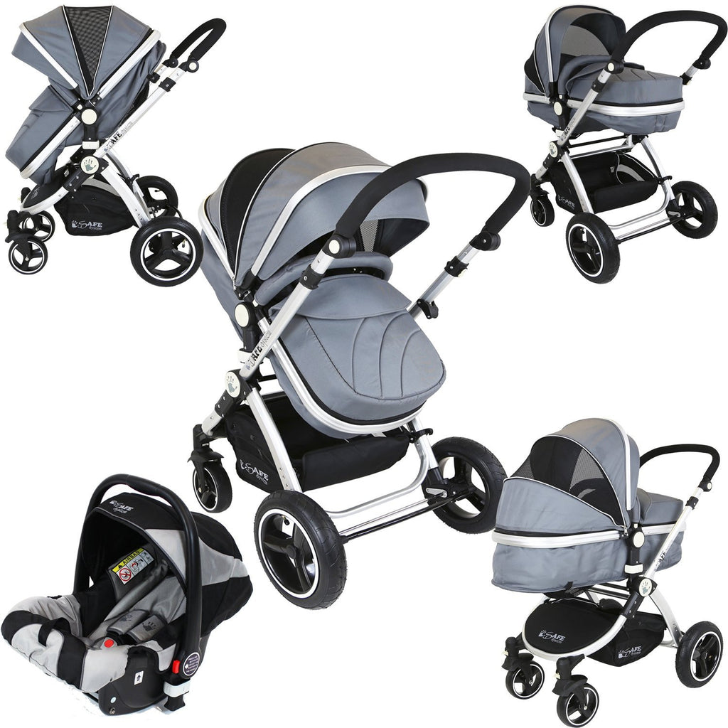 iSafe 3 in 1  Pram System - Grey Pram Travel System + Carseat - Baby Travel UK  - 1