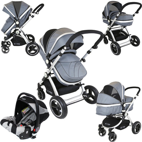 iSafe 3 in 1 Pram System Grey Pram Travel System And Carseat