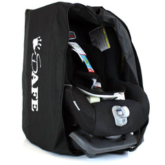 iSafe Universal Carseat Travel / Storage Bag For Kiddy Guardian Pro Car Seat (Racing Black) - Baby Travel UK  - 3