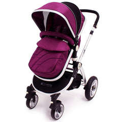 iSafe 3 in 1  Pram System - Plum (Purple) Travel System + Carseat + Bedding - Baby Travel UK  - 4