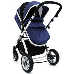 iSafe 3 in 1  Pram System - Navy (Dark Blue) + Carseat + Isofix Base + Footmuff & Raincover Package - Baby Travel UK  - 2
