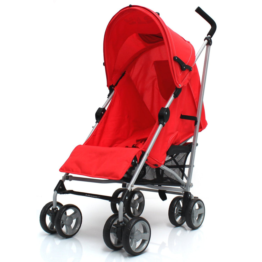 Zeta Vooom Stroller Warm Red + Buggy Organiser + Raincover Large Shade Hood - Baby Travel UK  - 1