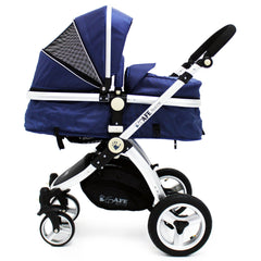 iSafe 3 in 1  Pram System - Navy (Dark Blue) + Carseat + Isofix Base + Footmuff & Raincover Package - Baby Travel UK  - 4
