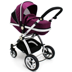 iSafe 3 in 1  Pram System - Plum (Purple) + Carseat + Footmuff & Raincover Package - Baby Travel UK  - 7