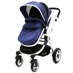 iSafe 3 in 1  Pram System - Navy (Dark Blue) + Carseat + Isofix Base + Footmuff & Raincover Package - Baby Travel UK  - 3