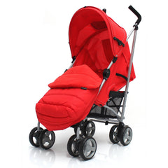 Baby Stroller Zeta Vooom Warm Red +XXL Large Padded Footmuff Liner Buggy Pushchair - Baby Travel UK  - 2