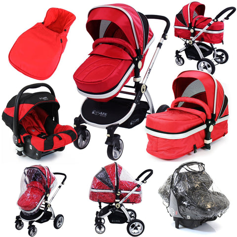 iSafe System - Red Travel Pram System Complete Package Raincover & Footmuff