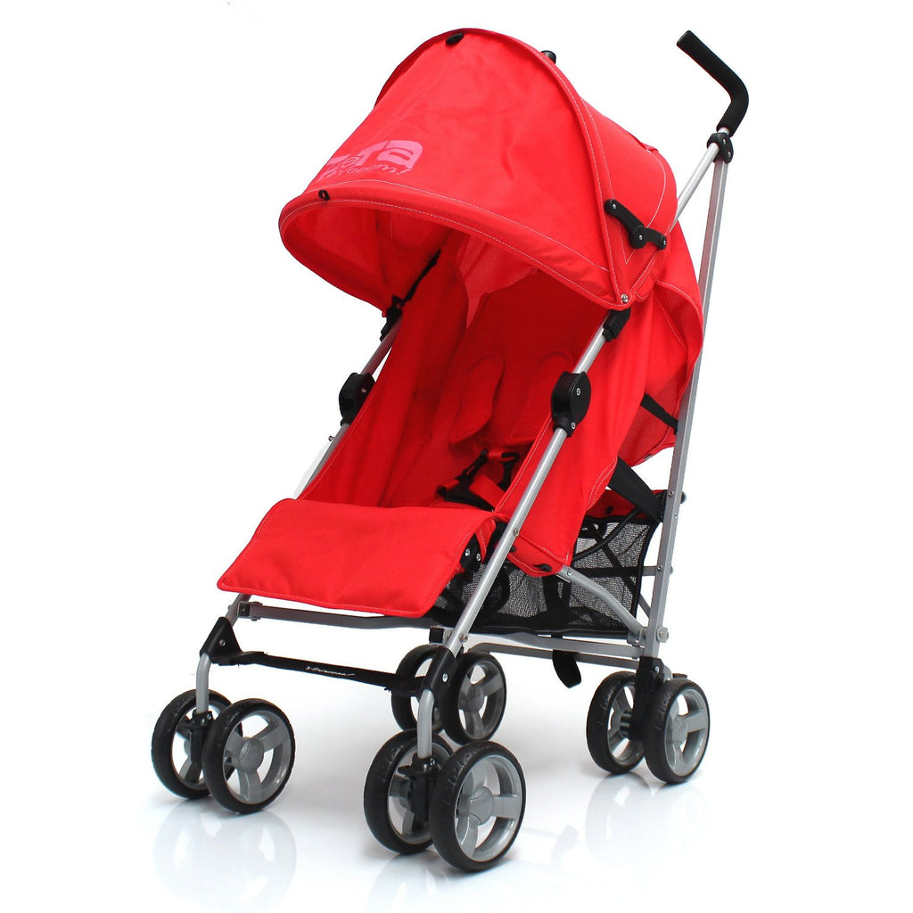 Zeta Vooom Stroller Warm Red Stroller Pushchair Buggy Raincover From Birth - Baby Travel UK  - 1