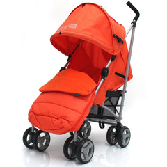 Baby Stroller Zeta Vooom Orange With XXL Large Padded Footmuff Pushchair Liner - Baby Travel UK  - 3