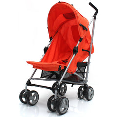 Baby Stroller Zeta Vooom Orange With XXL Large Padded Footmuff Pushchair Liner - Baby Travel UK  - 5