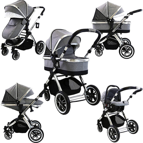 8ca57566838c8 iVogue - Grey Luxury 3in1 Pram Stroller Travel System (Car Seat Included)