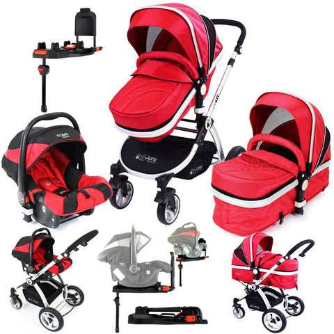iSafe System - Warm Red Pram Travel System Carseat & iSOFIX Base Package