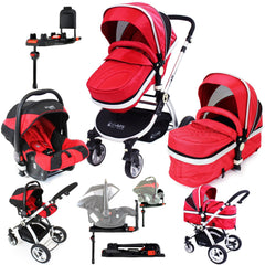 iSafe System - Warm Red Pram Travel System Carseat & iSOFIX Base Package - Baby Travel UK  - 1