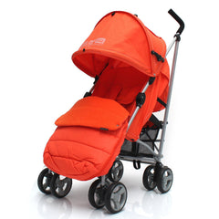 Baby Stroller Zeta Vooom Orange With XXL Large Padded Footmuff Pushchair Liner - Baby Travel UK  - 1