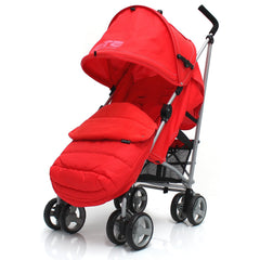 Baby Stroller Zeta Vooom Warm Red +XXL Large Padded Footmuff Liner Buggy Pushchair - Baby Travel UK  - 1