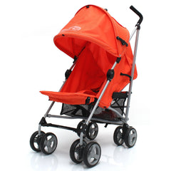 Baby Stroller Zeta Vooom Orange With XXL Large Padded Footmuff Pushchair Liner - Baby Travel UK  - 4