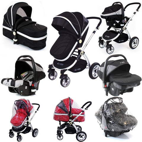 iSafe 3 in 1 Pram Travel System - Black + Carseat + Raincovers