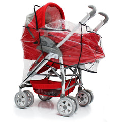Rain Cover For Maxi-Cosi Elea Pebble Travel System (Robin Red) - Baby Travel UK  - 5