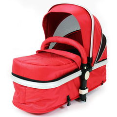 iSafe System - Red Travel Pram System Complete Package With Bedding + Raincover & Footmuff - Baby Travel UK  - 8